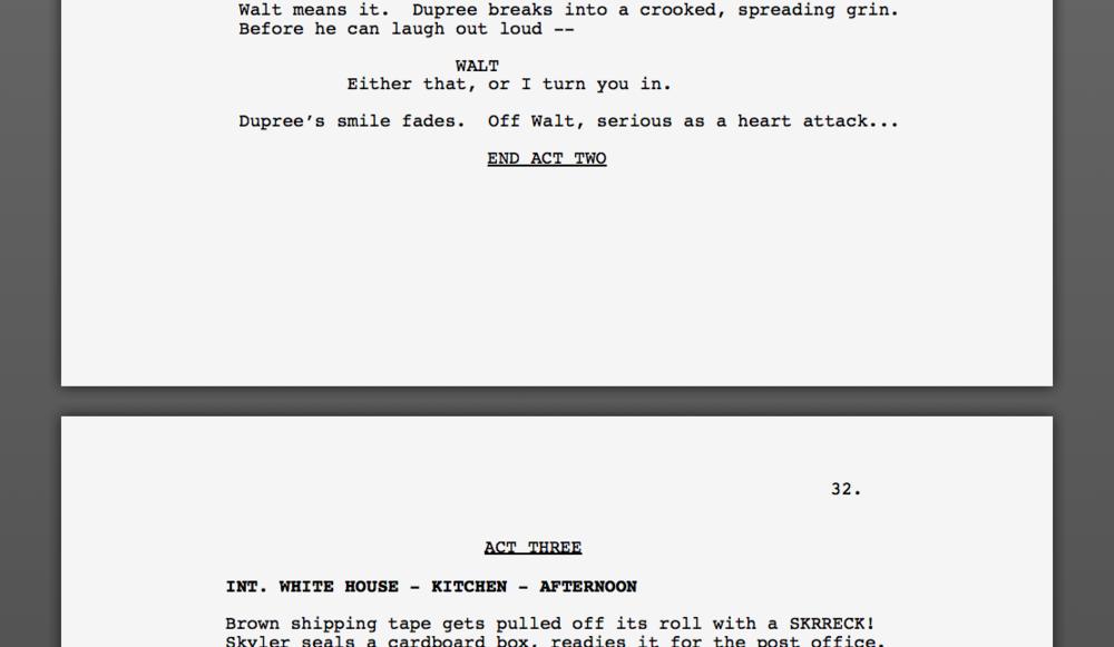 how can i make act breaks in a tv script slugline simply