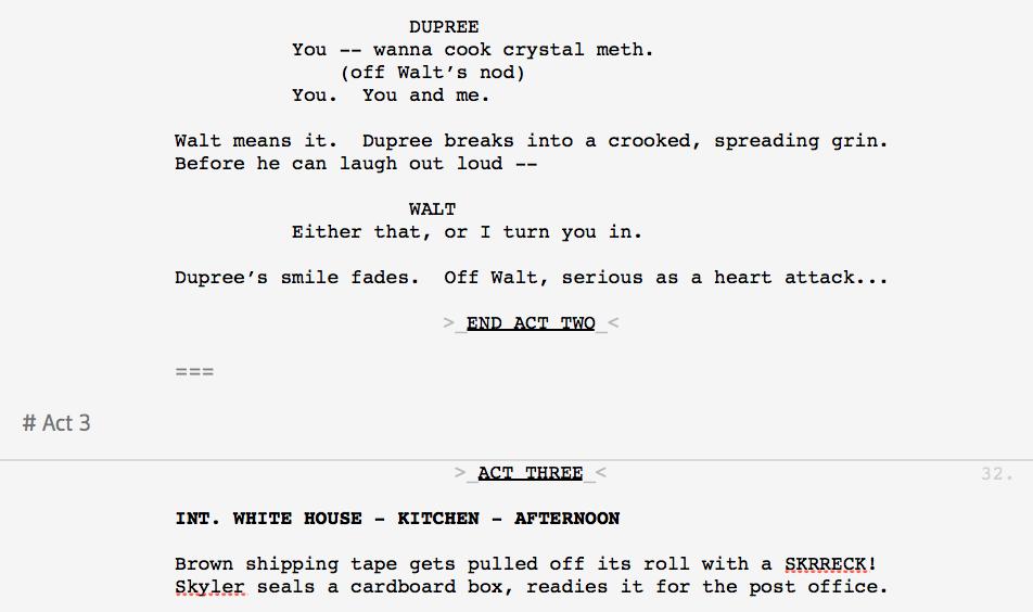 How Can I Make Act Breaks In A Tv Script Slugline