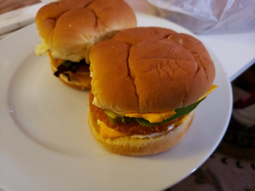 "Spicy ""chicken"" sandwiches, it should be mentioned that I'm a laxto-ovo vegetarian now, this would become clear in these photos eventually. I point that out because some older posts here (maybe not on this version of the site) have some meaty food pictures."