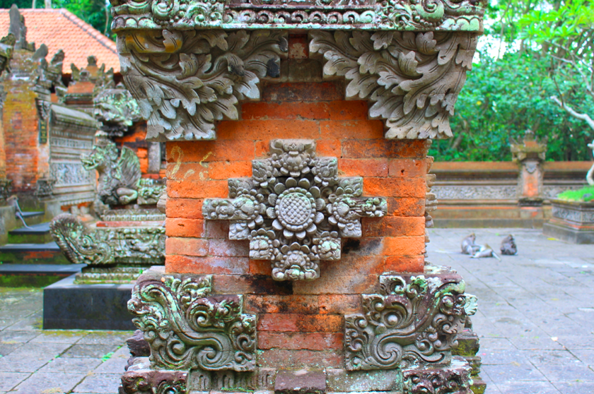 Detail of temple Pura Dalem Agung Padangtegal in the Sacred Monkey Forest, Ubud