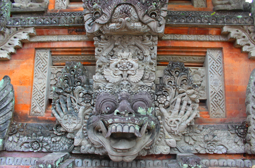 Temple detail, walking in Ubud