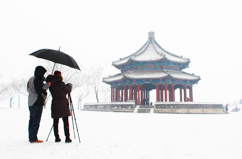 Photographing one of the temples overlooking the man-made lake at the Summer Palace