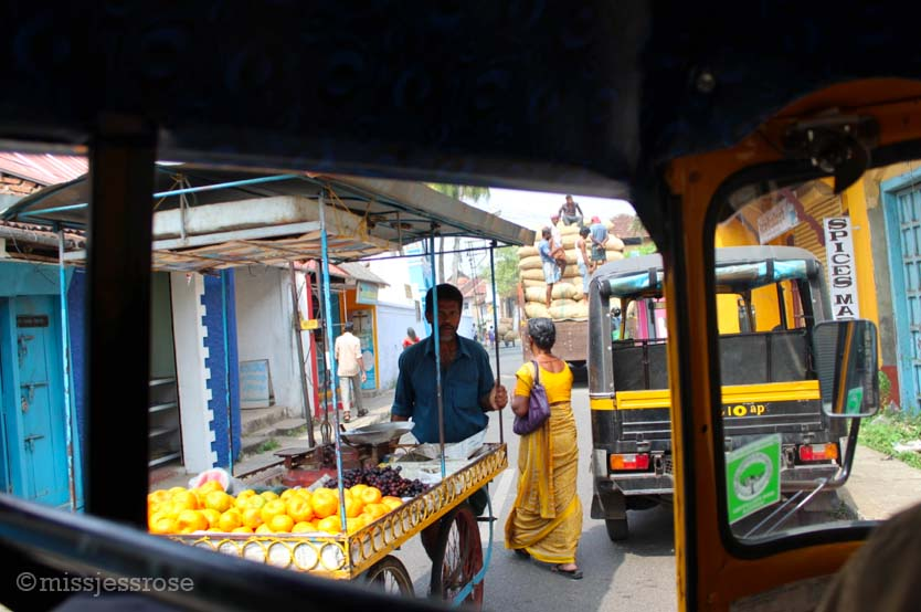 Riding a rickshaw in Fort Cochin