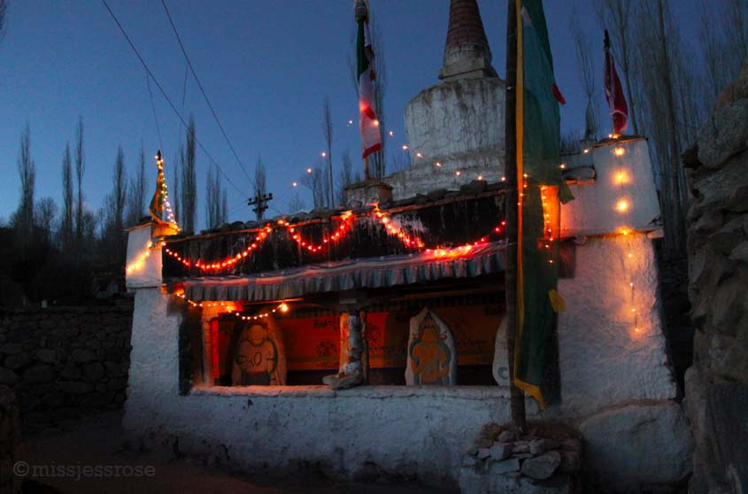 A small Buddhist shrine on the walk home in Ladakh