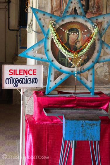 Inside a Christian church in Fort Kochi