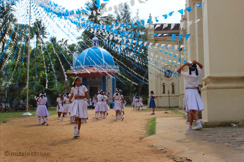 Catholic school girls playing outside in Kochi, southern India