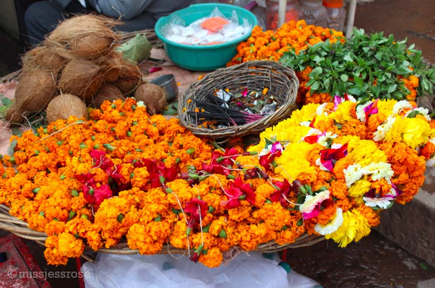 Hindu offerings for sale in Varanasi