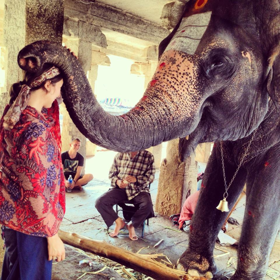 Me getting a blessing from Lakshmi, Hampi, India