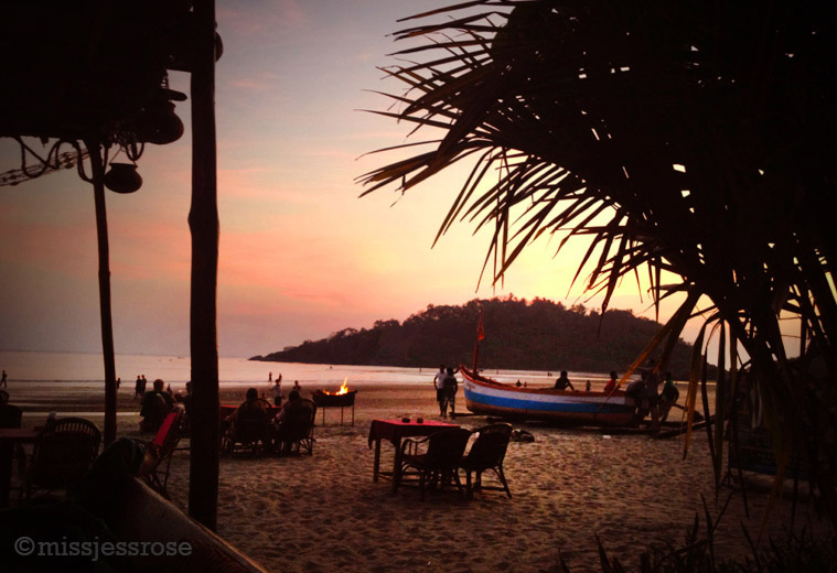 Hauling in a boat after a day at sea, sunset view from my favorite hangout on Palolem beach
