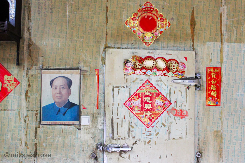 Remaining tributes to Mao can occasionally be found inside some of the market stalls