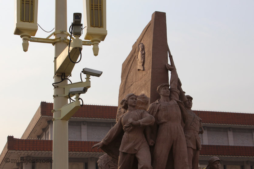 Security cameras on every lamp post in Tiananen Square