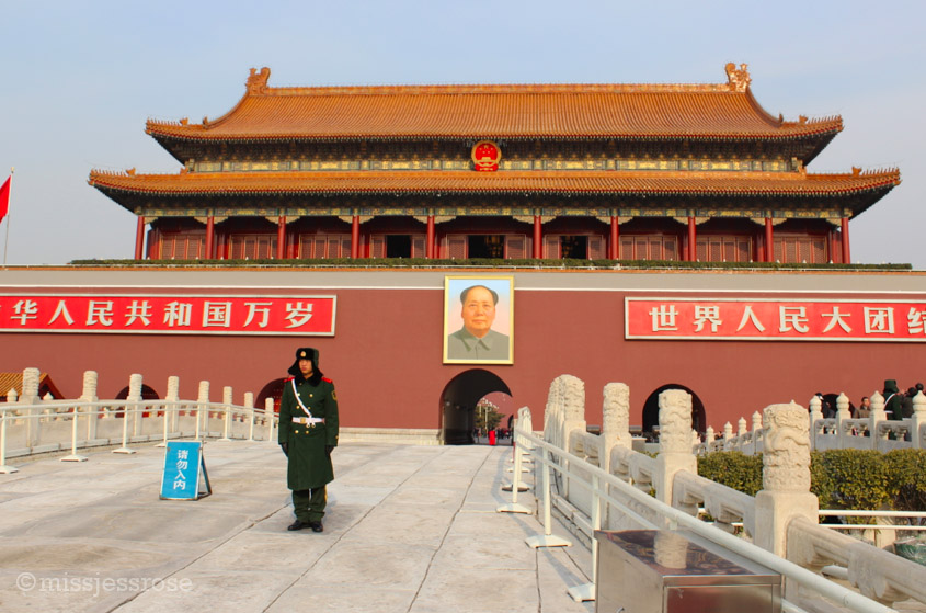 Mao still watches over the entrance to the great Forbidden City in Beijing