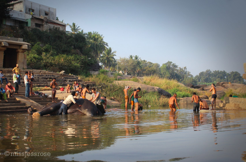Indian locals also use the river for bathing and washing clothes