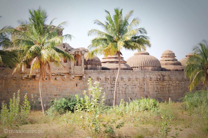 Rear view of the elephant stables with beautifully carved domes