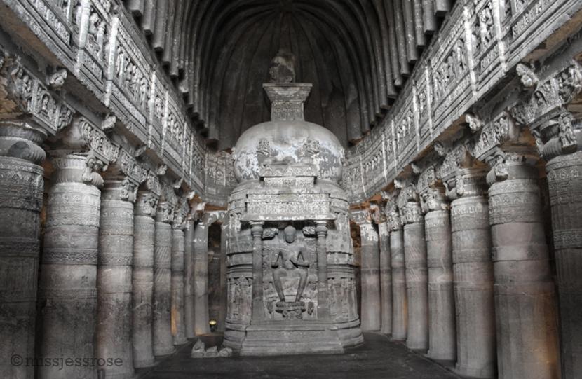 Stupa inside a temple cave