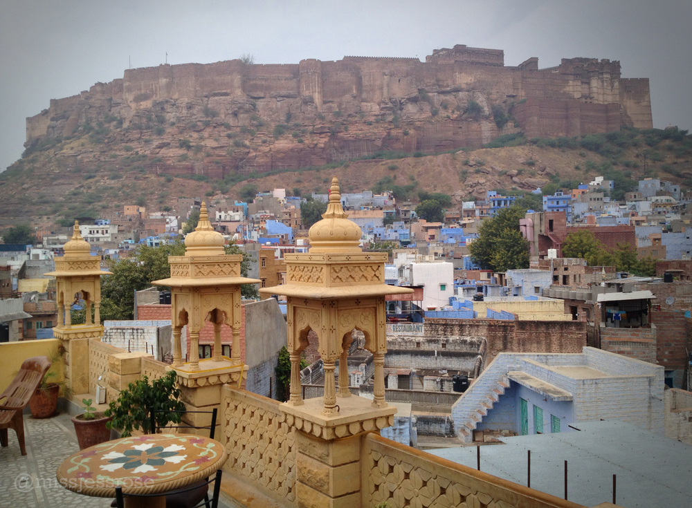 Fort Mehrangarh looms above the city of Jodhpur as seen from the rooftop of our hotel.