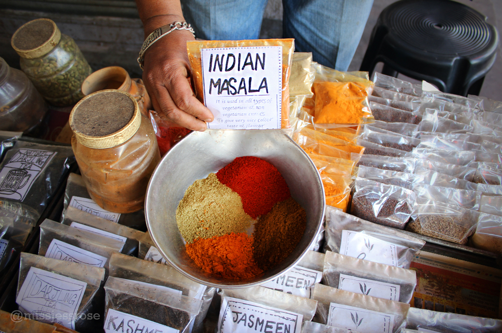 Colorful spices found in the Jodhpur street market.