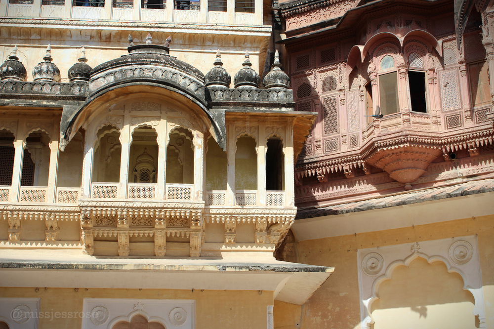 The luxurious palaces of Mehrangarh Fort overlooking Jodhpur, India.