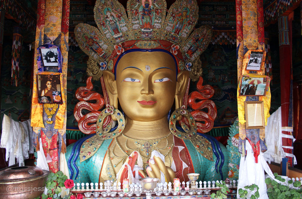 Giant 40 foot Buddha sculpture at Thiksey monastery, Ladakh, India