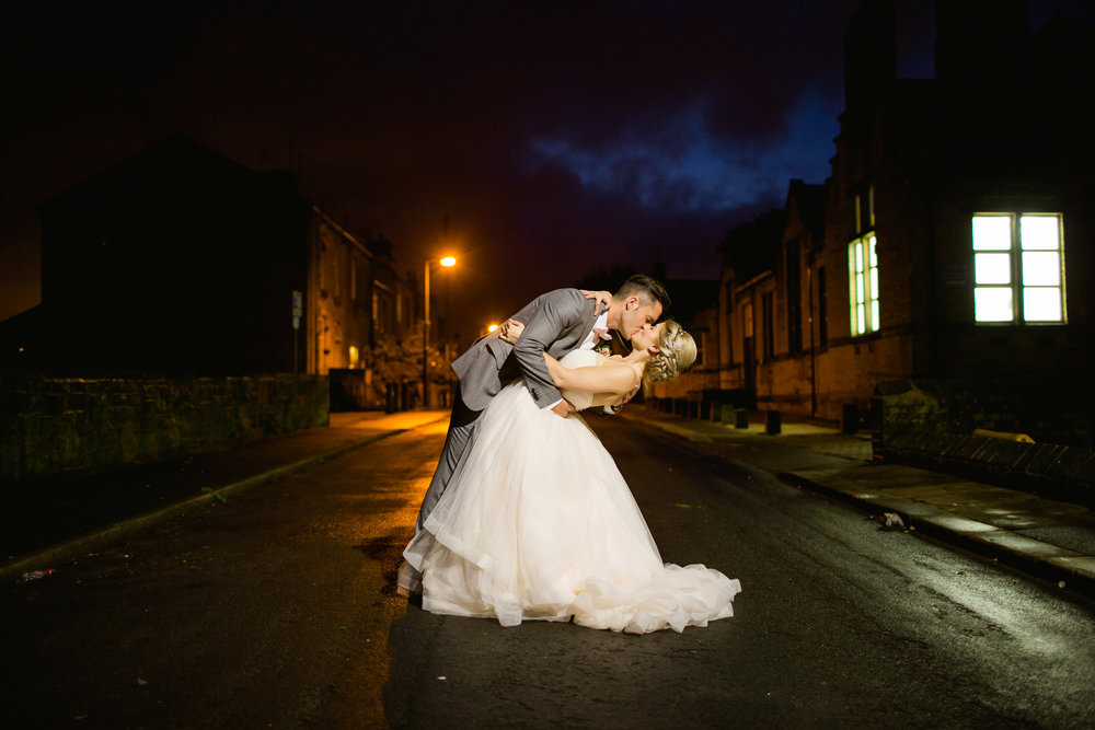 night time pictures at a wedding - wedding pictures - romantic urban wedding - Yorkshire wedding