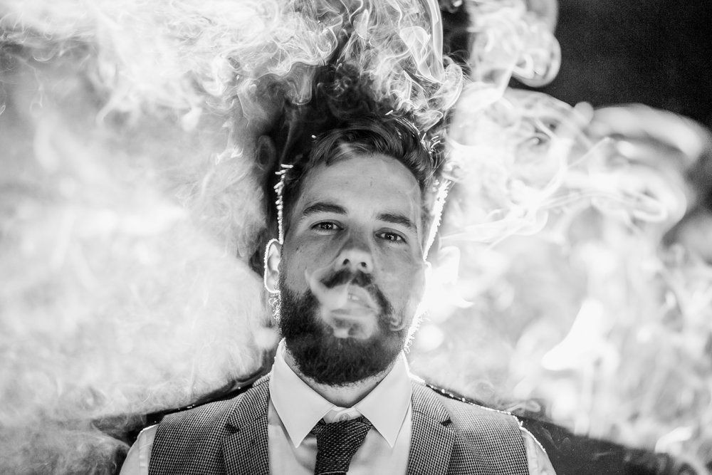 Groom smoking - Tythe Barn wedding - cool groom - tythe barn wedding photographer