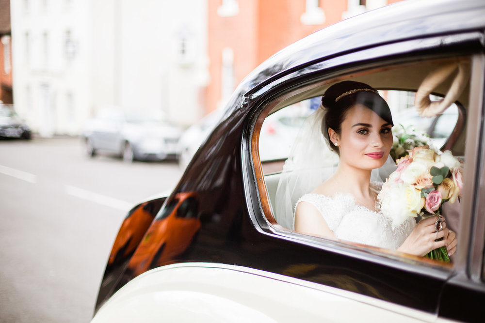 Bride arrives in vintage car - Vintage bride - Birmingham wedding
