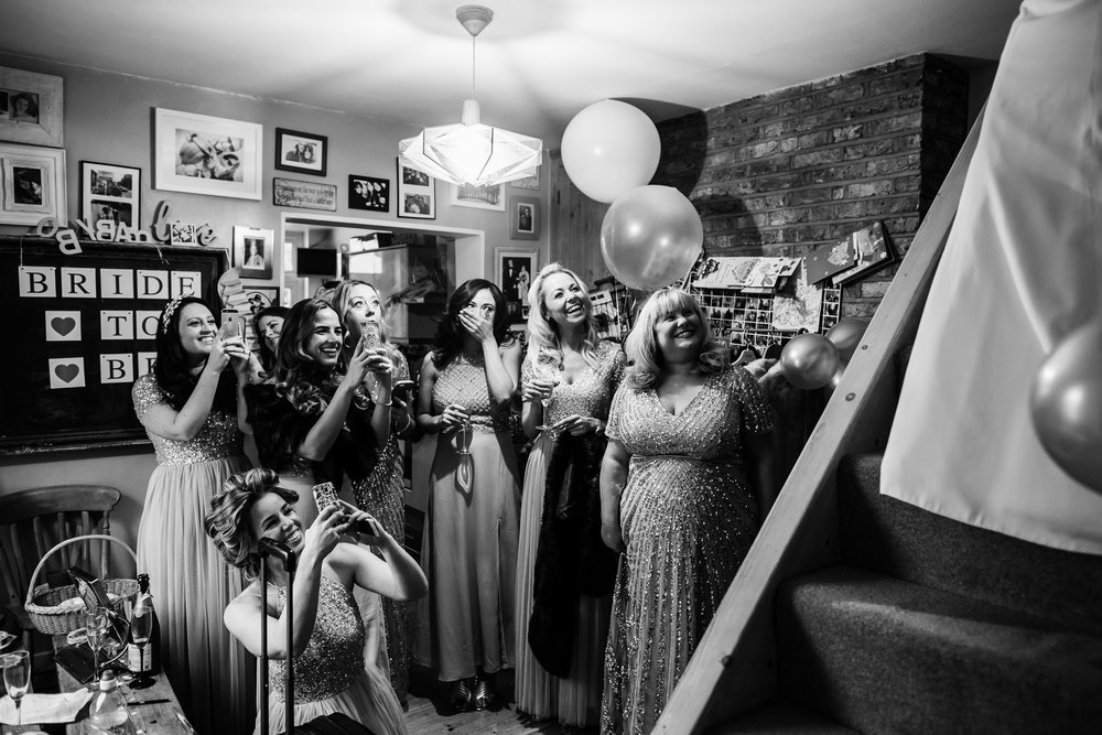 Bridal first look - Bridesmaids on a wedding day - Kingston wedding