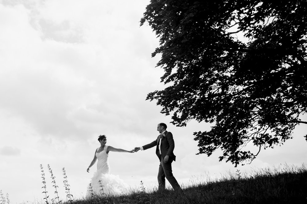 bride and groom at Yorkshire Sculpture Park - Landrover tour YSP - YSP wedding