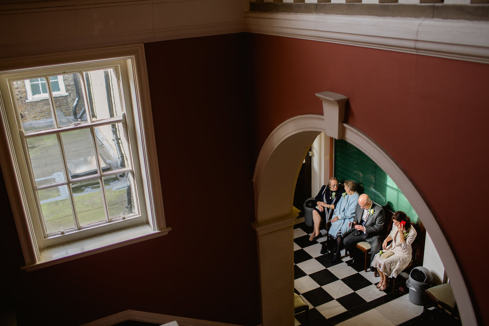 wedding at Chelsea Registry Office - Waiting to get married - Small london wedding