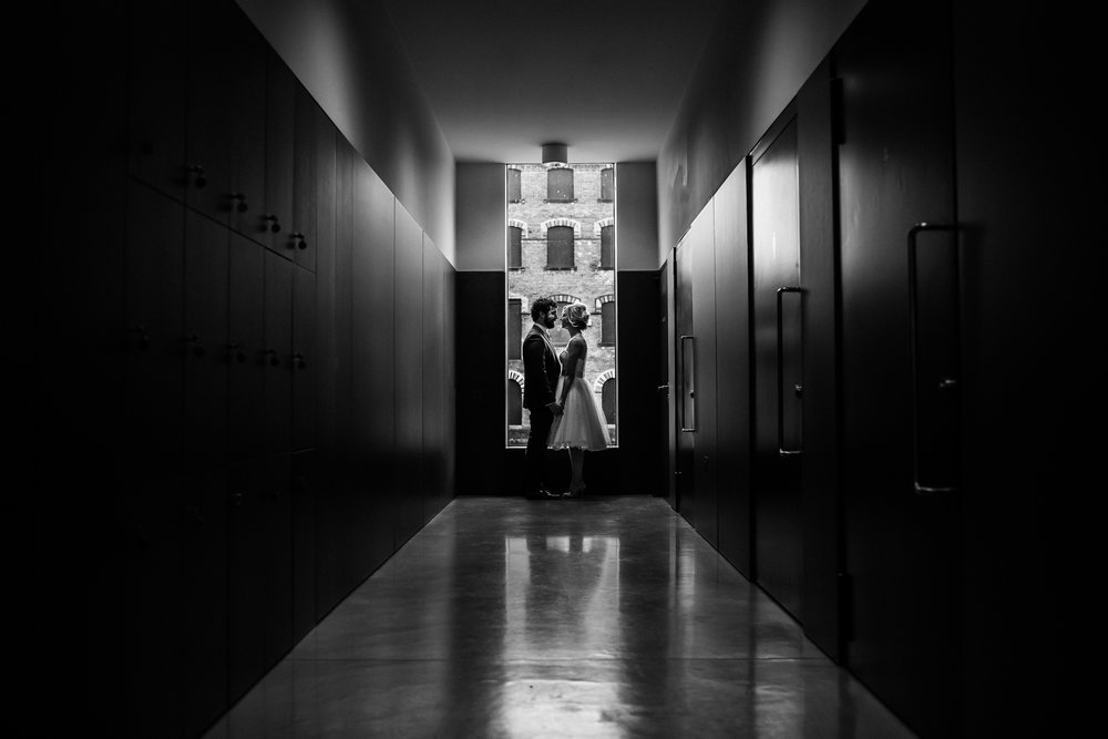 black and white wedding portrait at the hepworth