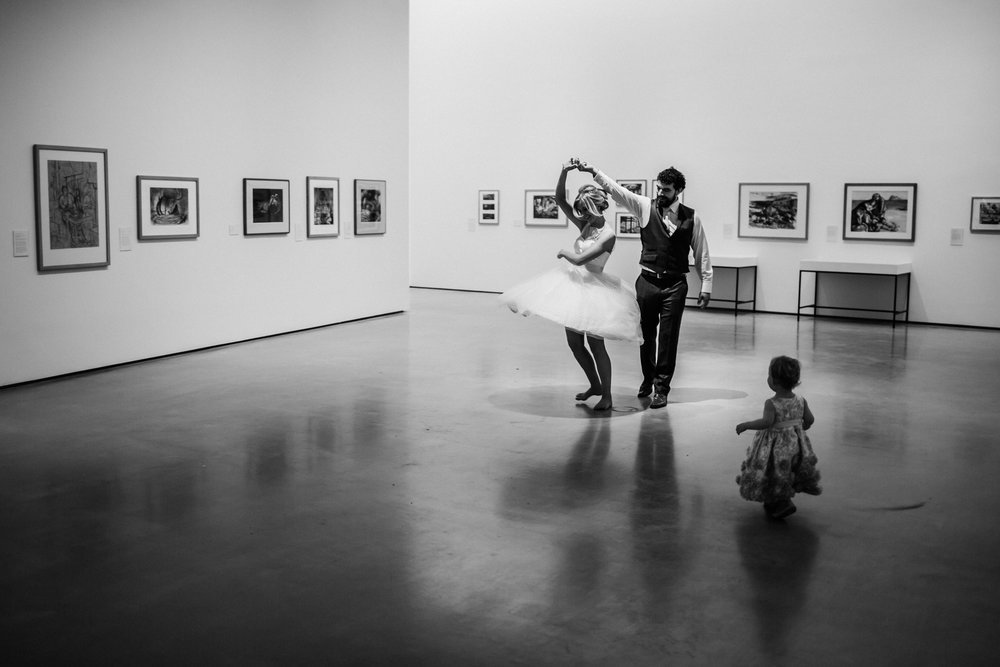 family dancing at the hepworth