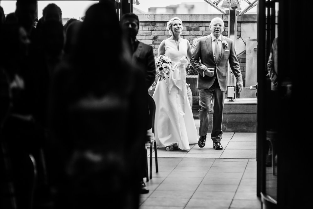 the bride arrives for her wedding at great john street hotel manchester