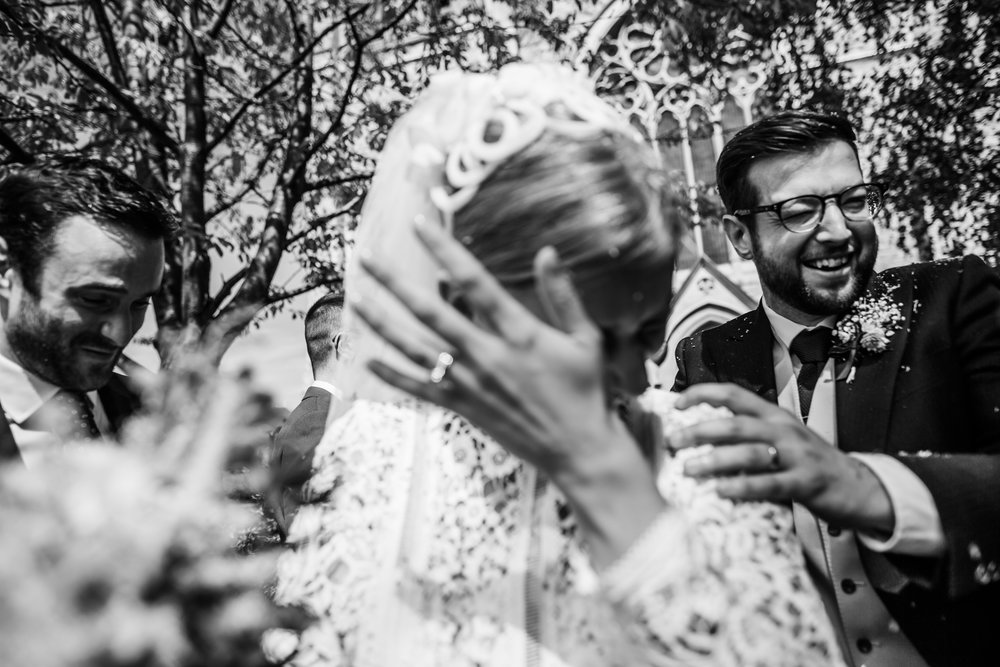 Bride and groom get a face full of confetti in Twickenham