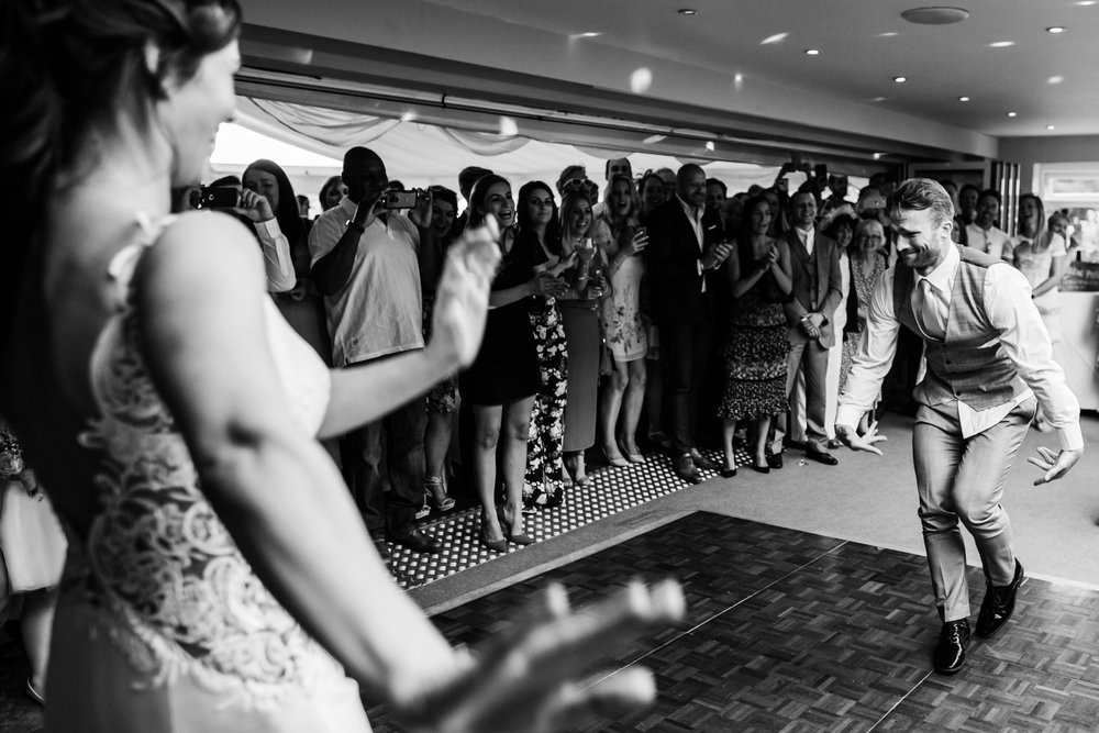 Bride and grooms energetic first dance in the west midlands