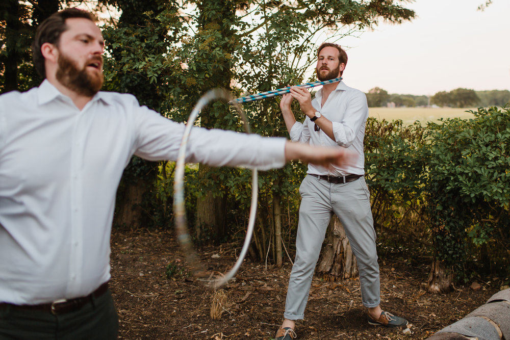 wedding guests hula hooping at a wedding in Norfolk