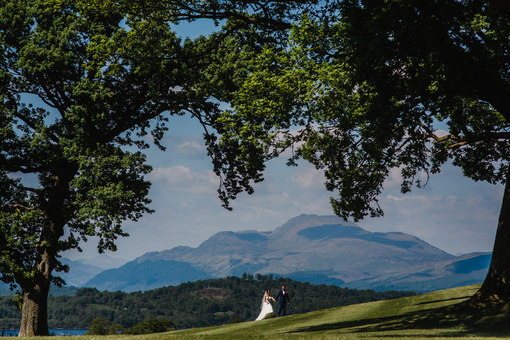 a Scottish wedding couple at loch lohmond