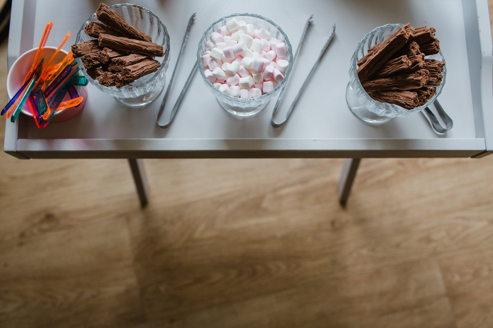 a table of ice cream fun at a wedding