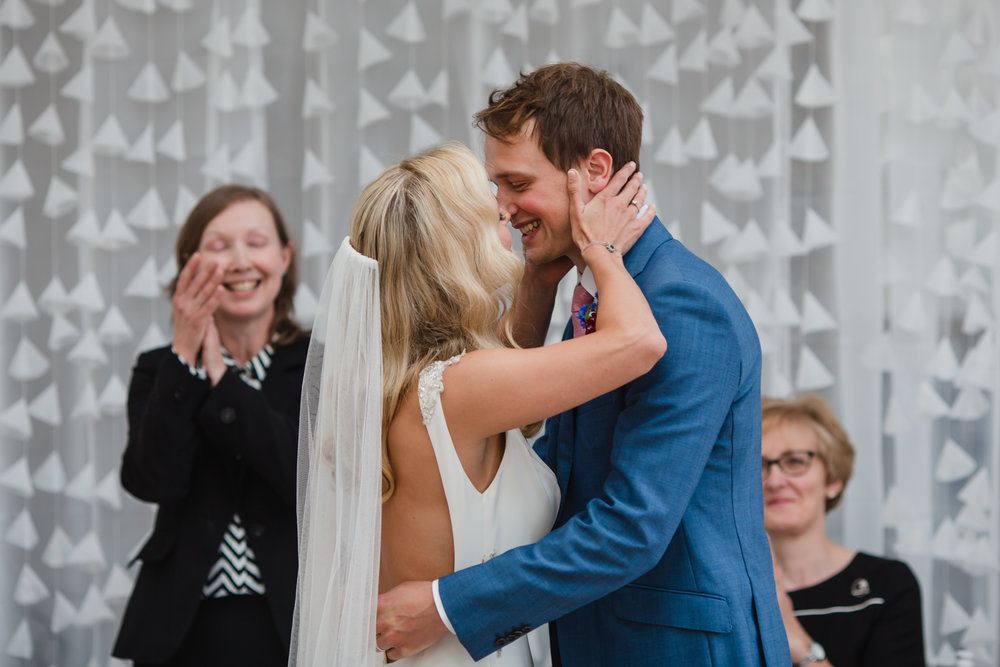 The first kiss at a wedding at fazeley studios birmimgham