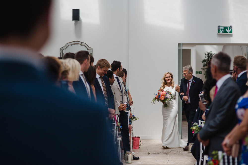 The groom sees the bride for the first time at fazeley studios