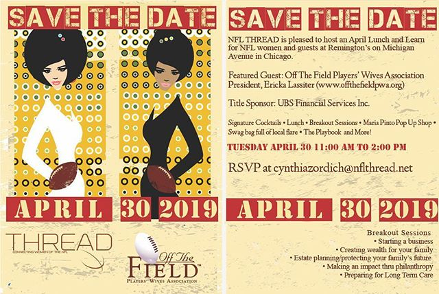 """NFL ladies - join nflthread.net for  lunch at @remingtonschicago Tuesday April 30, 2019. Signature cocktails, @themariapinto pop up shop, breakout sessions, swagbags, welcomes by Off The Field Players' Wives Association, NFL Thread.  Sponsored by @ubs  11:00 am Maria Pinto Pop Up 12:00 noon Cocktails/Lunch/Breakout Sessions  RSVP to Cynthiazordich@nflthread.net  @chicagobears @womenofthenfl @offthefieldpwa @pfpmapr #nflthread @nfllegends @nflplayerengagement  Let's grow TOGETHER!  Have a product, business, event you want us to share at the Luncheon? Contact us! """"A candle loses nothing by lighting another candle."""" James Keller @kristendhopkins 😌  AND- Stay tuned for updated information on the April 25 draft luncheon in Nashville. Big news coming!!"""