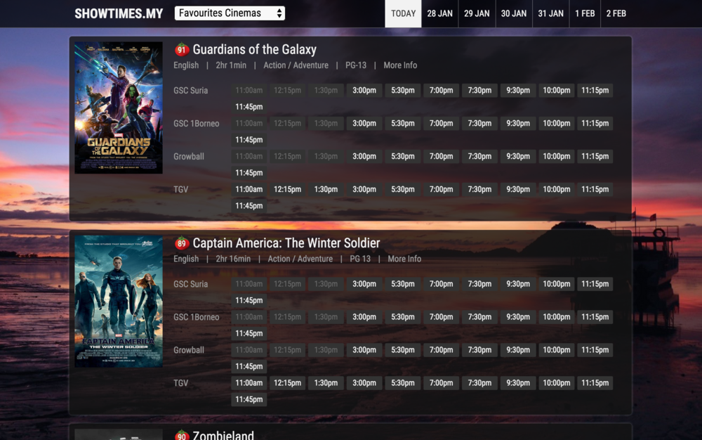 New Showtimes.my design