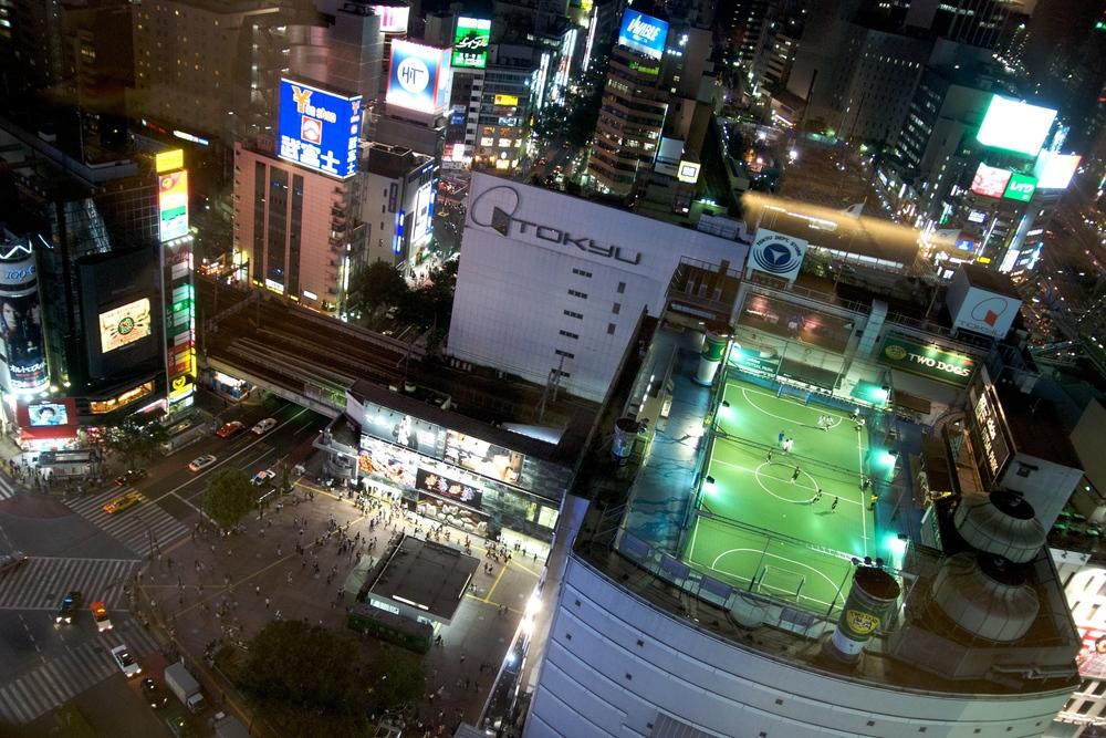Shibuya Crossing and theAdidas Futsal Park, Tokyo