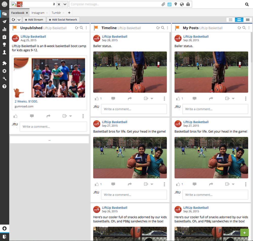HootSuite Dashboard for LiftUp Basketball