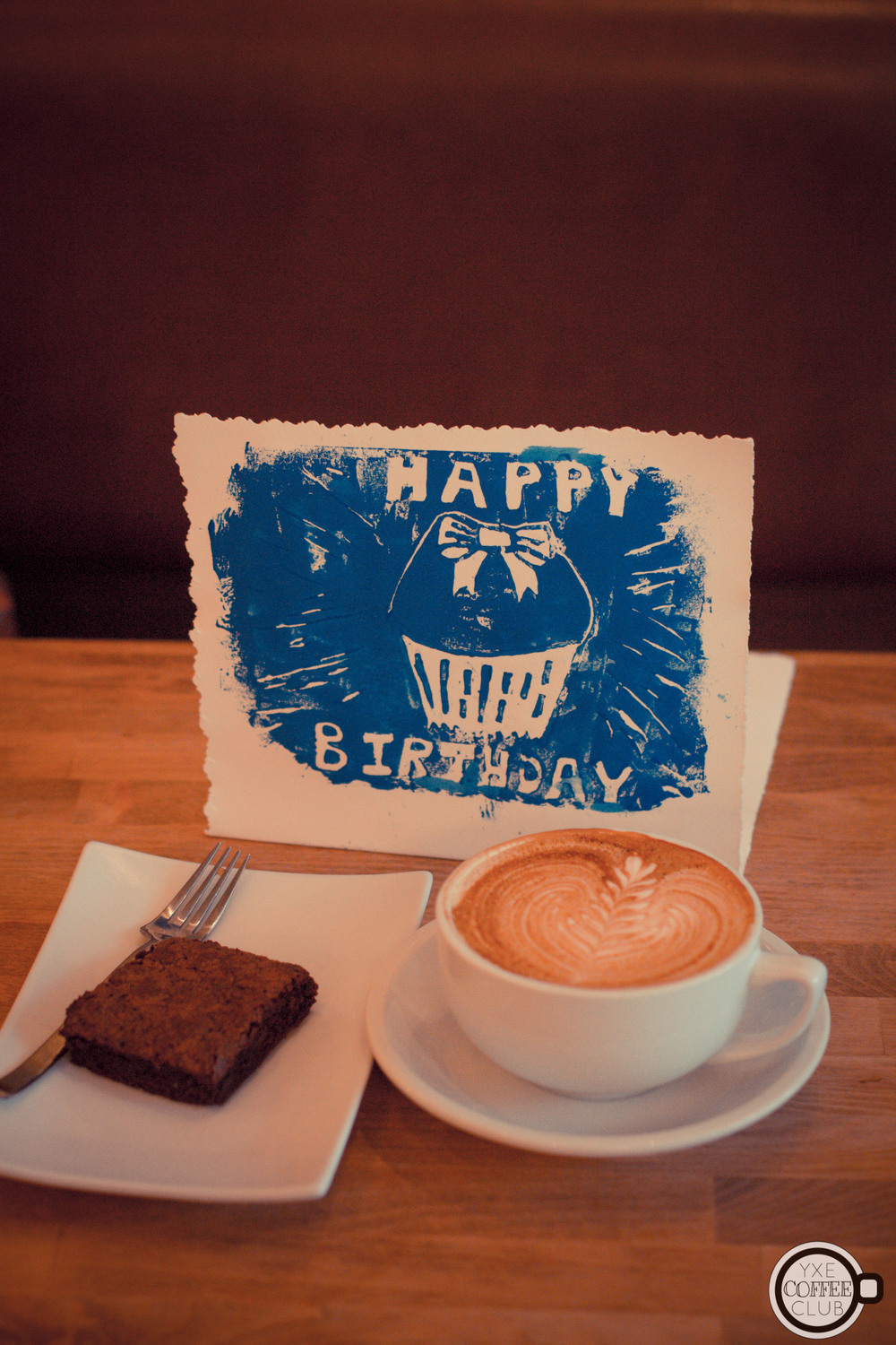 Birthday latte and a espresso brownie!
