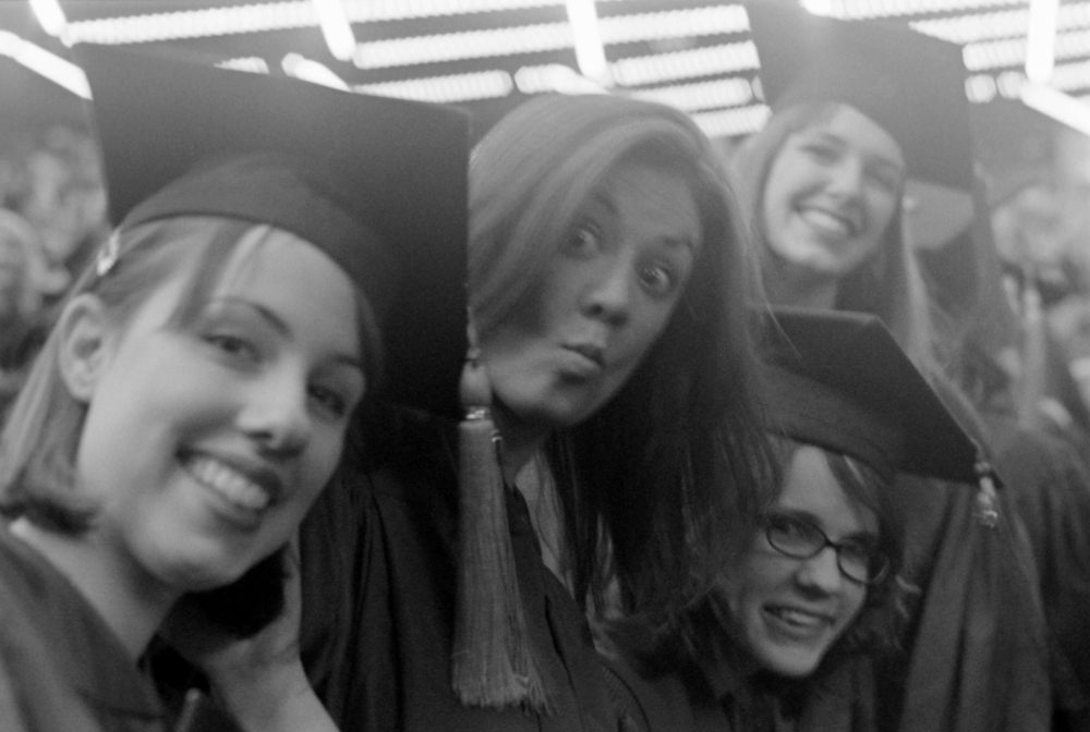 Steph, Ryann, Karina & Kayla  NYU Graduation 2010  35mm b&w film