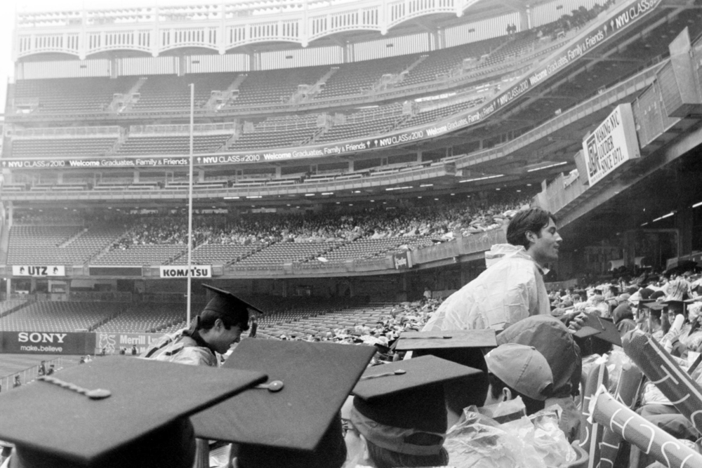 Chris and Andrew in the rain  NYU Graduation 2010  35mm b&w film