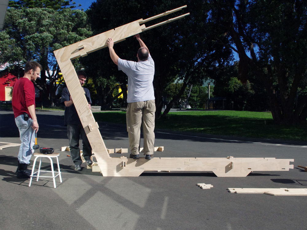 WikiHouse NZ prototype framework going up at the Fab Lab in Massey University, Wellington.