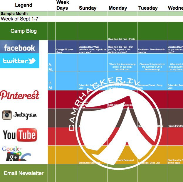 Summer Camp Social Media Marketing Calendar from CampHacker.TV