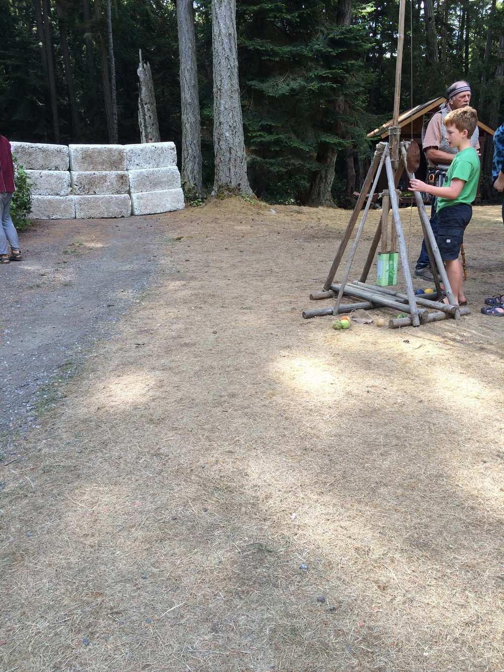 The homemade trebuchet at Canoe Island French Camp.