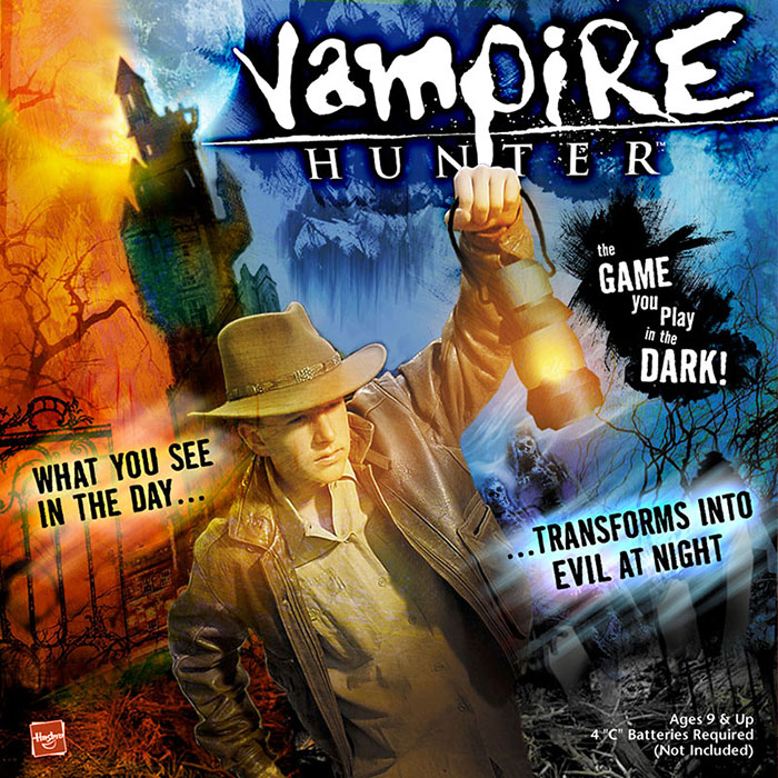 Marketing decided they wanted something the kids could relate to... Make it so the kids envision themselves as the Vampire Hunter. So I enlisted the work of sci-fi and horror book cover artist  Cliff Nielsen . He is also responsible for much of the content illustrations including the final gameboard.
